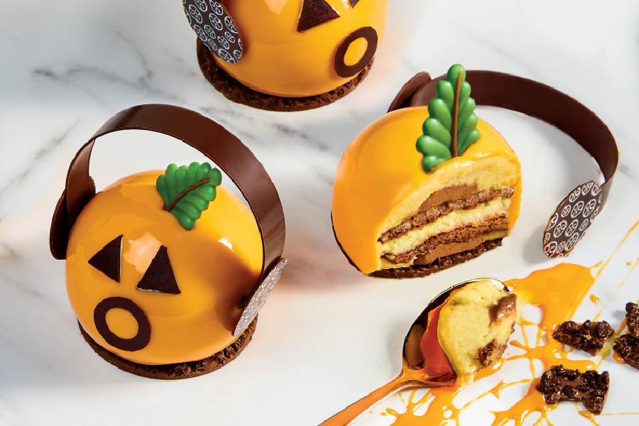 Trick or treat with chocolate, sponge and orange